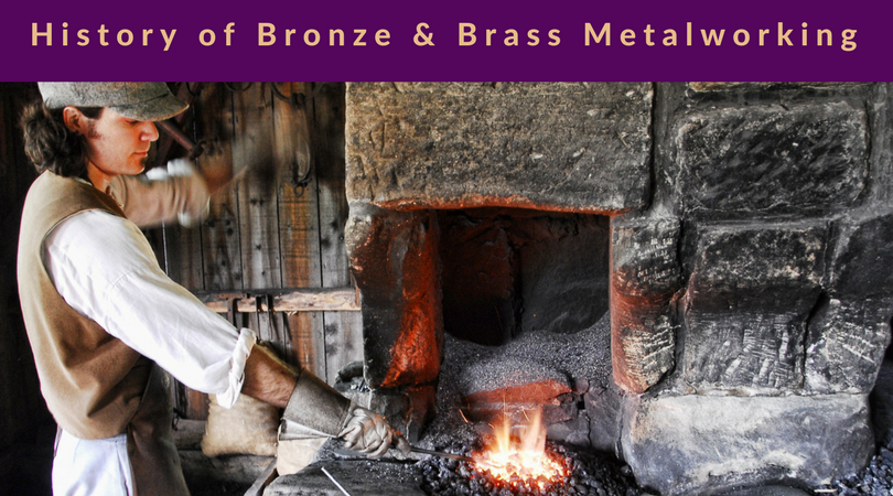 History of Brass and Bronze Metalworking title over man using coal and flame to heat metal