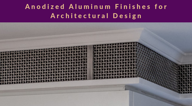 Anodized Aluminum for Architectural Design feature photo with a metal grille across crown molding