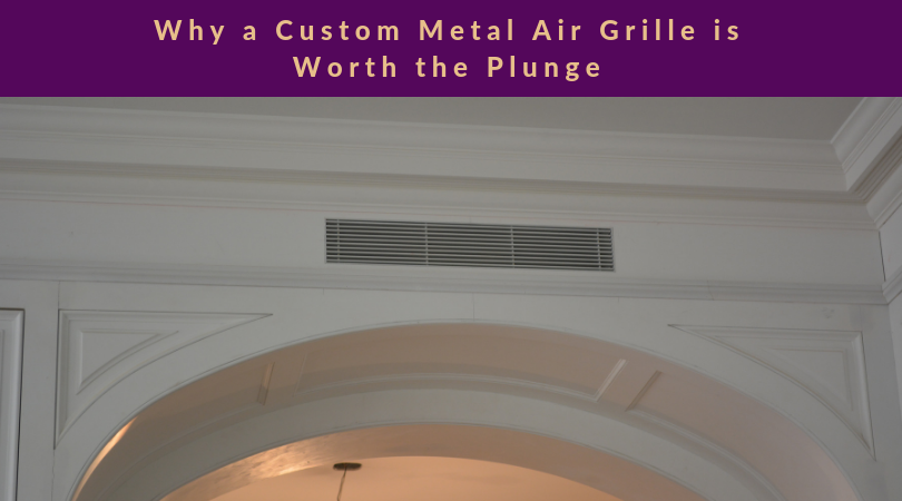 custom l-bead linear bar grille installed above archway text above photo (Why a Custom Metal Air Grille is Worth the Plunge)